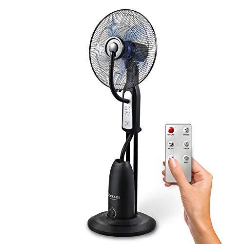 DARDARUGA Ventilatore Analogico con NEBULIZZATORE Atomizzatore ad Acqua WFD con TELECOMANDO (rinfresca l'ambiente), Serbatoio XL da 2,80 litri, Oscillante, Silenzioso, Ruote. Colore Nero.