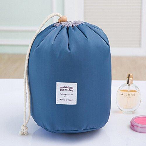 Frcolor Toiletry cilindrico portatile borsa lavabile deposito borsa viaggio impermeabile Kit trucco organizzatore caso cosmetico (blu)
