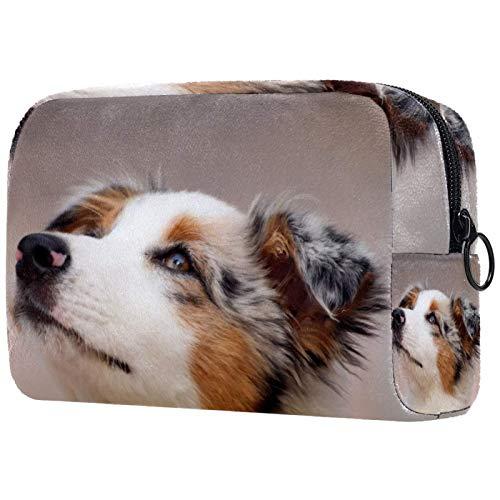 Borsa per il trucco Organizer Piccolo cosmeticoBagsforWomen Travel Toiletry Bag Custodia per il trucco Borsa a mano Cucciolo di cane Pastore australiano Piccolo affascinante