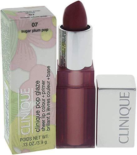 Clinique Pop Glaze, Rossetto 2-In-1: Colore Luminoso e Base Levigante, 07 Sugar Plum Pop, 3.9 grams