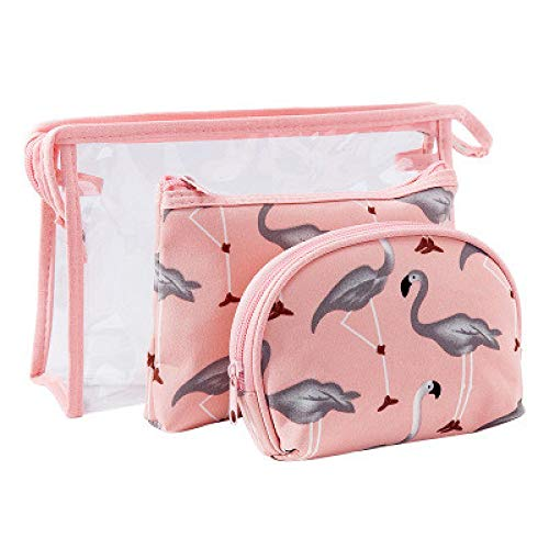 3 PcsFlamingo Cosmetic Bag Women Necessaire Make Up Bag Travel Waterproof Portable Makeup Bag Toiletry Kits PVC B