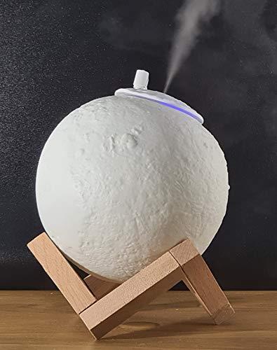 Self Ideas - Lampada a luna 3D con umidificatore a ultrasuoni, luce notturna calmante e rilassante con 3 tonalità di colore, luce notturna con diffusore di oli essenziali (USB) senza batteria