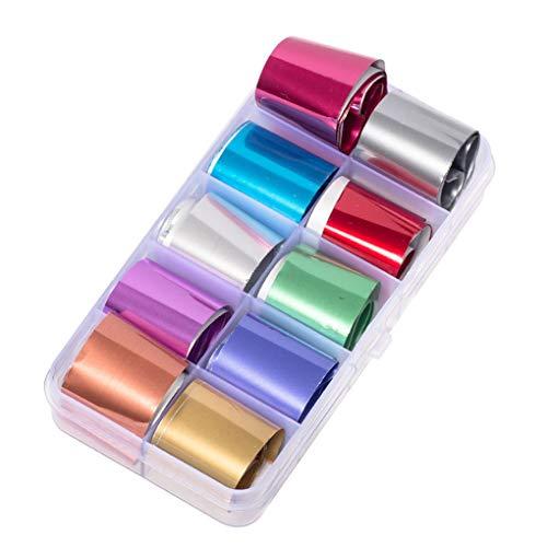 Fangfeen Decalcomanie Foil Sticker Colore della Caramella di chiodo di Luccichio di trasferimento Sticker Manicure Tatuaggi olografico Nail Carta 1 Box Starry Sky Nail