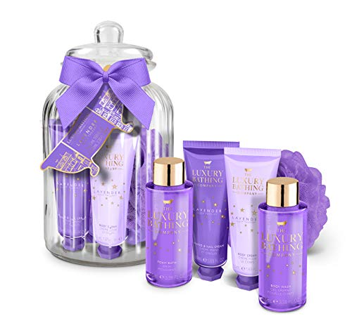 The Luxury Bathing Company Sleeping Beauty Glass Jar Set. Including 50ml Body Cream, 50ml Hand & Nail Cream, 100ml Foam Bath, 100ml Body Wash and Body Polisher