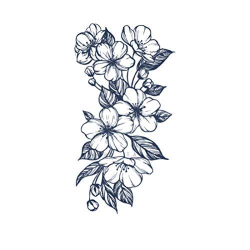 YLGG Adesivi per Tatuaggi temporanei Moda Fiori di ciliegio, Adatti per Uomini e Donne, Impermeabili, Rimovibili