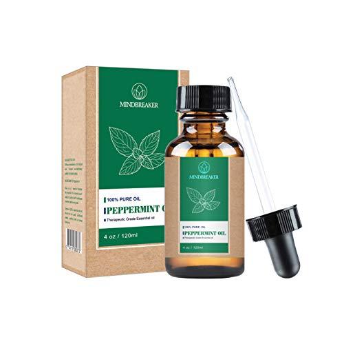 Olio essenziale di menta piperita, 100% puro biologico e naturale, grado terapeutico per diffusore, relax, miscele per capelli e corpo (120 ml)