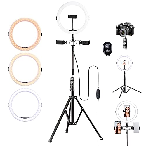 K&F Concept Ring Light, Luce ad Anello LED 5500K, Luce Anello Dimmerabile con Treppiedi 200cm e clip per Microfono e Telefono, Smartphone, Youtube,Tik Tok, Vine,Autoritratto
