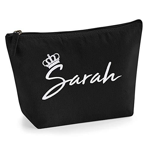 Beauty case personalizzabile con nome, iniziali e corona, da donna, per borsa, makeup, glitter o fiocco