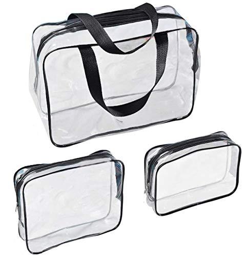 Voyage 3 Pz Borse da Viaggio Impermeabili Trasparenti, Sacche Trasparenti da Aereo Borse per Cosmetici con Zip Beauty Case da Borsa da Viaggio