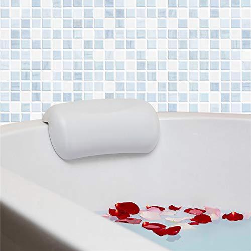 MOLEDA Cuscino Vasca con 2 Antiscivolo Ventose, Bath Pillow Spa Bathtub Pillow, Cuscino Poggiatesta Vasca da Bagno Impermeabile, Morbido PU Cuscino per Collo Testa Vasca Bagno (Bianco)