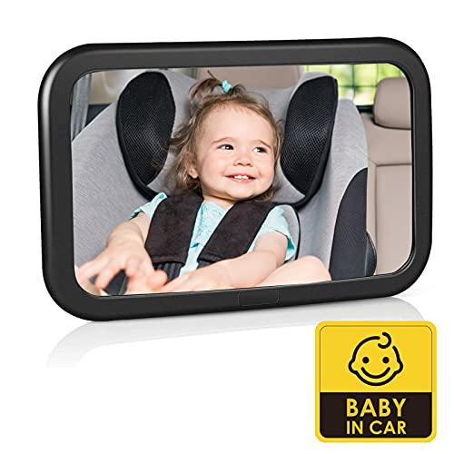 Specchietto Retrovisore Bambini, Specchio Auto Bambino Ruotabile a 360° e inclinabile, Specchio Retrovisore per Auto Sedile Posteriore Infrangibile al 100%, Cinghie Elastiche Regolabili, Ampia Visuale