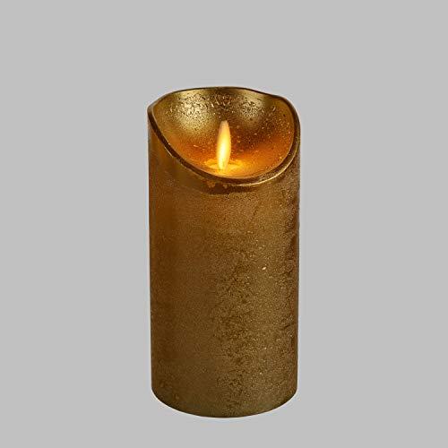 LuminalPark Candela cilindrica Cera Ruvida Oro, Ø 7,5 cm, h 15 cm, LED Bianco Caldo, Fiamma in Movimento, Timer, Telecomando Opzionale, Batteria, Interno