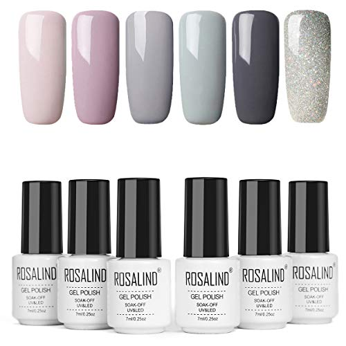 ROSALIND Smalti Semipermanenti Per Unghie 6 Colori Serie Grigia Elegante Soak Off Smalto Semipermanente Beauty Gel Manicure 7ml
