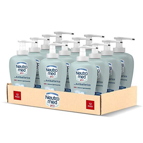 Neutromed Detergente Mani Liquido con Antibatterico Naturale, Sapone Mani 100% Azione Igienizzante, 12 pezzi x 300 ml