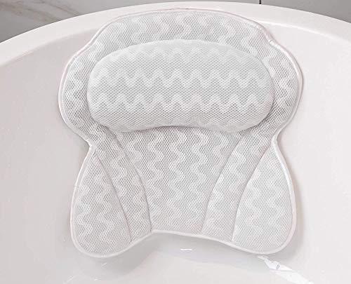 DONGQI Cuscino Vasca da Bagno Poggiatesta per Vasca da Bagno Cuscino con Ventose Antiscivolo Home Spa 3D Impermeabile Bath Pillow per Il Collo Testa e Spalle