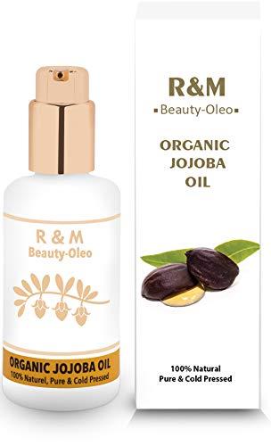 R&M - Olio di jojoba - 100% olio di jojoba biologico spremuto a freddo per viso, corpo, capelli e molto altro ancora - Per una pelle bella, un viso pulito e lucido, capelli forti - 100 ml