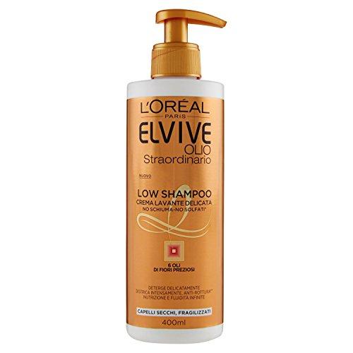 L'Oréal Paris Elvive Low Shampoo Olio Straordinario, Shampoo Senza Schiuma per Capelli Secchi, 400 ml