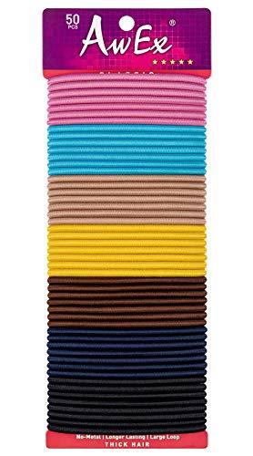 AwEx, elastici per capelli grandi, per capelli spessi, 50 pezzi, colori misti, 4 mm di spessore, 170 mm di lunghezza, senza elastici per capelli in metallo, ideali per capelli ricci e ondulati.