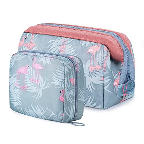 vamei 2 Pezzi Borsa per Cosmetici Beauty Case Donna Trousse Trucchi Pochette per Trucchi Donna Cosmetici Borsa Donna Washbag Borsa dei Trucchi Borsa da toilette Flamingo per Donne Ragazza Viaggio