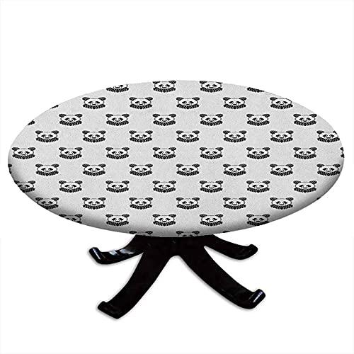 Tovaglia rotonda con tatuaggio, stilizzata, motivo: panda, orso, ritratti carini mascotte per bambini in bianco e nero, bordo elastico, impermeabile e lavabile, per tavoli fino a 111,8 cm di diametro