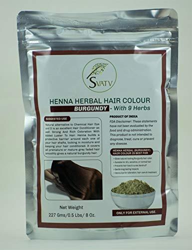 SVATV - Colore per capelli all'henné BORGOGNA con 9 erbe II Mehndi per capelli, Colore naturale per capelli II 227 g, 0,5 libbre, 08 once