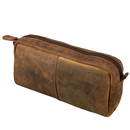 STILORD 'Spencer' Astuccio in Pelle Grande Vintage con Cerniera Beauty Case Cuoio Portamatite Portapenne, Colore:marrone medio