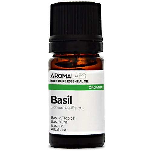 Basilico BIO - 5ml - Olio essenziale BIO e Naturale al 100% - Qualità verificata mediante cromatografia - Aroma Labs