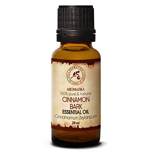 Olio Essenziale di Cannella 20ml - Cinnamomum Zeylanicum - Aromaterapia - Fragranza per Ambienti - Oli Essenziali - Olio di Cannella Puro Naturale 100% - Cura Della Pelle e dei Capelli - Diffusori