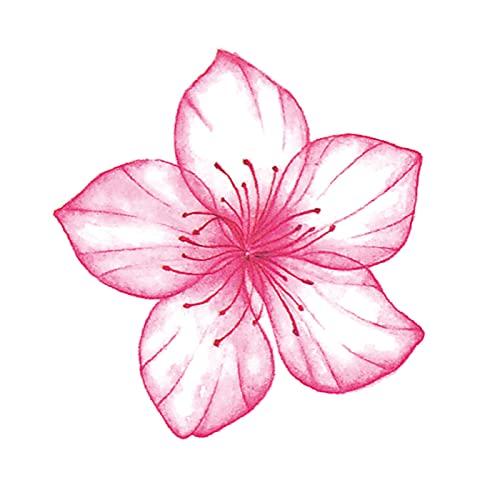 5 fogli dipinti a mano piccoli fiori di ciliegio adesivi tatuaggio stile antico impermeabile femmina clavicola di lunga durata piccoli adesivi tatuaggio fresco