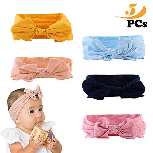 Fascia per Capelli, 5 Fasce per Capelli di Colore Diverso Neonate Bambine Bowknot Elastica Fascia Capelli