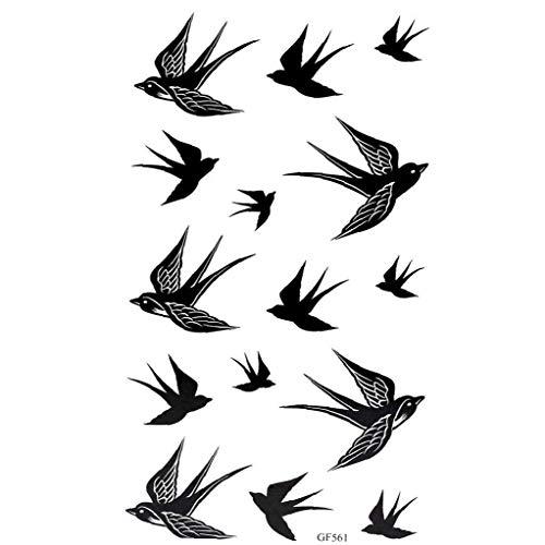 2 Scheda Swallow Del Modello Del Corpo: Tatuaggi Rimovibile Rondine Uccello Flash Tattoos Waterproof Rondine Body Art Sticker Nero