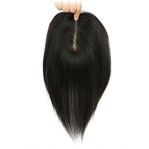 Topper dei capelli umani per diradamento dei capelli delle donne reale remy un pezzo clip in hairpieces Topper PU base di seta diritta 12*14*35cm nero