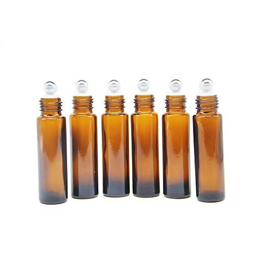 Yizhao Roll On Vuoto per Oli Essenziali,Profumi,10 ml Marrone Bottiglie Vuote in Vetro, con Sfera in Acciaio Inossidabile – 6 PCS