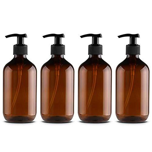 Bweele Flaconi Dispenser Pompa Liquido da 500 ml, flaconi Dispenser Pompa Liquido Vuoti con Pompe lozione Nere per olii Essenziali, lozioni e saponi liquidi per la Cucina del Bagno