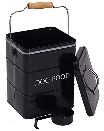 DogFood - Contenitore per alimenti per cani, con coperchio e paletta inclusi, in polvere bianca, in acciaio al carbonio, per animali domestici, colore: Nero