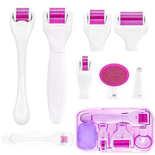 Kit Derma Roller Microneedling 7 in 1 – Rullo Microneedle per la cura della pelle, cosmetici non invasivi micro ago strumento per la crescita di viso, barba, corpo e capelli, con 5 rulli sostituibili