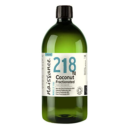 Naissance Olio di Cocco Frazionato Certificato biologico 1L – puro al 100%, Vegano, senza OGM, Idratante per la Pelle e i Capelli