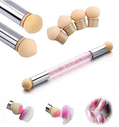 Doppia testa Spugna di pennellino per unghie, per fare le sfumature di colore sull'unghia e gradiente di colore, incluso 4 Testine di ricambio, Pennello di spugnetta pigmento per nail art