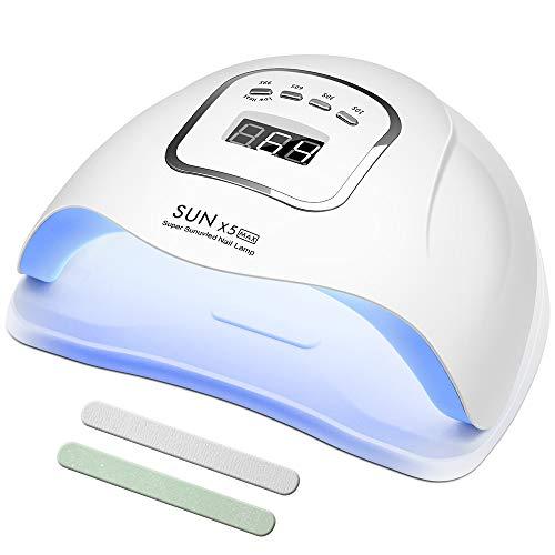 MOULEI 150W Lampada Unghie LED UV Professionale per Manicure/Pedicure, Sensore Di Avvio Automatico Con La Possibilità Di Lmpostare 4 Timer 10/30/60 / 99S