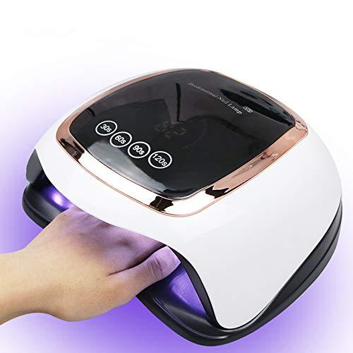 BLUEQUE 168W Lampada Unghie LED UV Professionale per Manicure/Pedicure, Sensore di Avvio Automatico con La possibilità di Lmpostare 4 Timer 30/60/90 /120S,