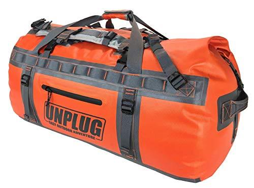Unplug Borsone Viaggio – Borsa Impermeabile 1680D per Canottaggio, Motociclismo, Caccia, Campeggio, Kayak o Jet Ski. Proteggi i Tuoi Oggetti in Qualunque Condizione (Arancione, 65L)