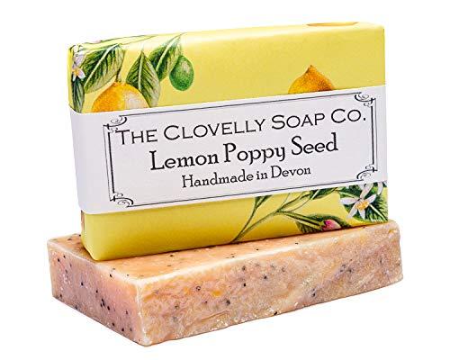 Clovelly Soap Co Saponetta Esfoliante Naturale e Fatta a Mano, con Limone, Semi di Papavero e Curcuma, per Tutti i Tipi di Pelle, 100gr