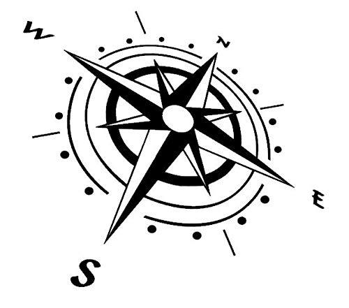Generic - Adesivo con bussola, 20 cm o 30 cm, motivo rosa del vento, per caravan, camper, roulotte o come tatuaggio da parete (92/1) (20 cm, nero lucido)
