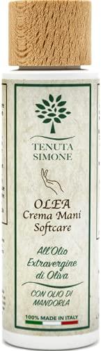 Olea, Crema Naturale per le Mani all'Olio Extra Vergine di Oliva e Olio di Mandorle - Made in Italy, Puglia - Riparatrice, Adatto a tutti i tipi di Pelle - Al Profumo naturale di Mandorla - 100 ml