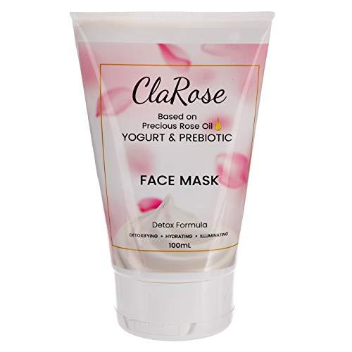 ClaRose Maschera viso illuminante detossificante con olio essenziale di rosa 100% naturale, yogurt e prebiotici; 100 ml