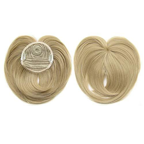 Frangia Capelli Clip Capelli Veri Extension Frangetta, Silky Clip-On Hair Topper per capelli diradati Donna, Heat Resistant Fiber Wig Hair Extension for Women (24#)