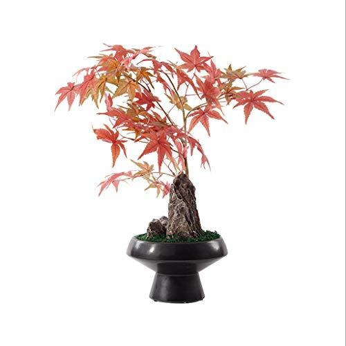 Bonsai Artificiali Piante Zen cinese artificiale Albero artificiale in vaso, Modello Camera morbida Tatuaggi Porticato fiore artificiale, piante artificiali Rosso Acero Pietra Bonsai ornamenti artific