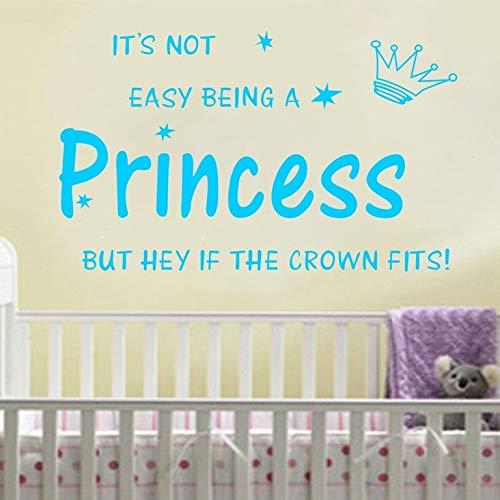 Adesivi murali citazioni per bambini, arte del tatuaggio da parete, corona principessa Kids Nursery Muro fai da te Gilr 70x45cm
