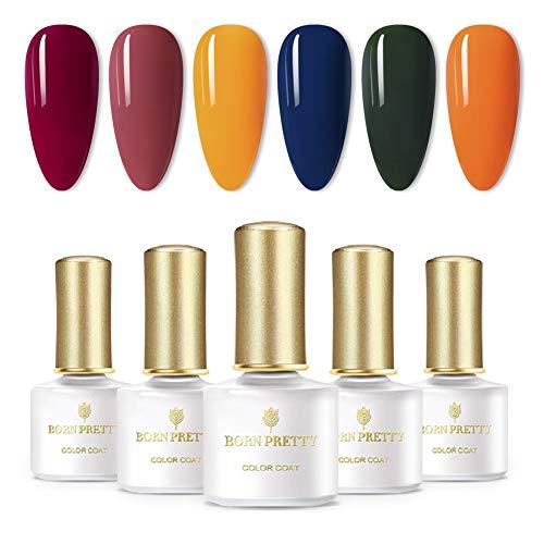 BORN PRETTY Set di smalti per gel UV Gel per unghie Gel per unghie Soak Disappear Set di 6 bottiglie di design a colori puri (Set1)