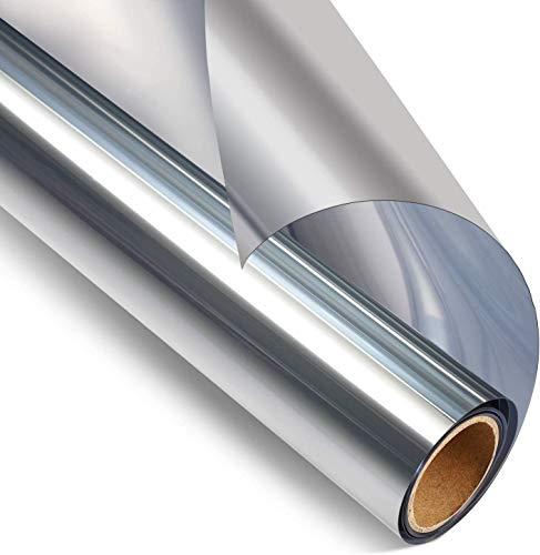 RMane - Pellicola autoadesiva a specchio, per finestra, protezione solare, isolamento termico, protezione privacy, finestra, finestra del tetto, colore argento (argento, 60 x 200 cm)